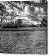 Arch Swing Set In The Park 76 In Black And White Canvas Print