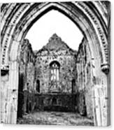 Athassel Priory Tipperary Ireland Medieval Ruins Decorative Arched Doorway Into Great Hall Bw Canvas Print