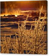 Arctic Sea Smoke Sunrise Canvas Print