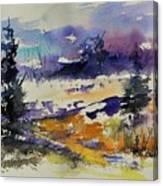 Ardennes Landscape Watercolor Canvas Print