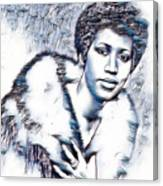 Aretha Franklin Portrait In Blue Canvas Print