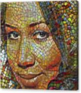 Aretha Franklin Tribute Mosaic Portrait 2 Canvas Print