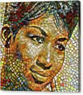 Aretha Franklin Tribute Mosaic Portrait 3 Canvas Print