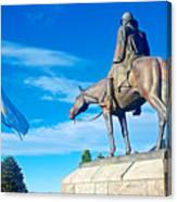 Argentinian Flag And Julio Roca-1843 To 1914-sculpture In Central Park In Bariloche-argentina  Canvas Print