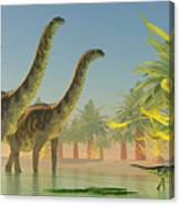 Argentinosaurus In Lake Canvas Print
