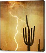 Arizona Saguaro Lightning Strike Poster Print Canvas Print