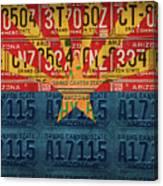 Arizona State Flag Vintage License Plate Art Canvas Print
