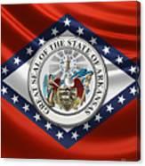 arkansas state seal over flag digital art by serge averbukh