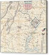 Army Map Of Seat Of War In Virginia 1862 Canvas Print