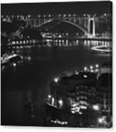 Arrabida Bridge By Night Canvas Print