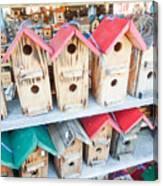 Array Of Handmade Birdhouses For Sale Canvas Print