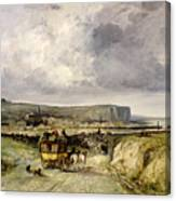 Arrival Of A Stagecoach At Treport Canvas Print