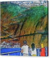 Arriving  At Thira Santorini Greece Canvas Print