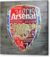 Arsenal Football Team Emblem Recycled Vintage Colorful License Plate Art Canvas Print