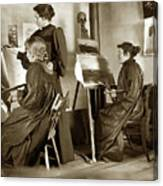 Art Class Oil Painting Teacher  And Art Students 1900 Canvas Print
