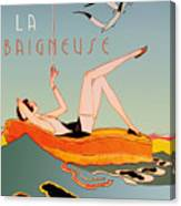Art Deco Beach Bather Canvas Print