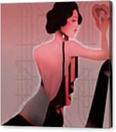 Art Deco Valentine Greeting Canvas Print
