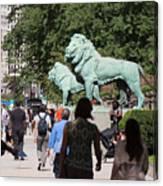 Art Institute Of Chicago Bronze Lions Canvas Print