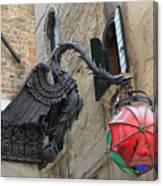 Art Nouveau Dragon In Marzaria Venice Italy Canvas Print