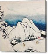 Art Of Japan And The Two Paths Of Shintoism And Buddhism - Holy Men In The Snow Without Abraham Canvas Print