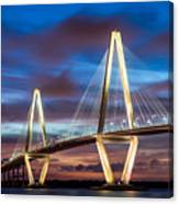 Arthur Ravenel Bridge At Night Canvas Print