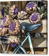 Artichoke Flowers With Bicycle Canvas Print
