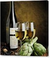 Artichokes And Wine Canvas Print