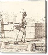 Artist Carrying Easel With A Lithographic Stone Canvas Print