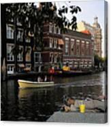 Artist On Amsterdam Canal Canvas Print