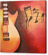 Artistic Guitar With Musical Notes Canvas Print