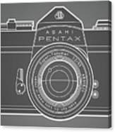 Asahi Pentax 35mm Analog Slr Camera Line Art Graphic White Outline Canvas Print