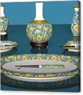 Asian Dining And Vases Canvas Print