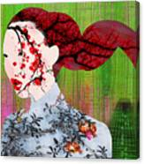 Asian Flower Woman Red Canvas Print