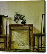 Asian Furniture And Bonsai Canvas Print