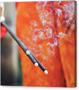 Asian Woman Holding Incense Sticks During Hindu Ceremony In Bali, Indonesia Canvas Print