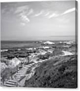 Asilomar Beach Stairway In Black And White Canvas Print