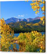 Aspen On Pikes Peak And Crystal Reservoir Canvas Print