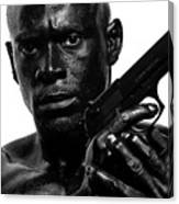 Assassin In Black And White Canvas Print