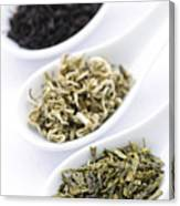 Assortment Of Dry Tea Leaves In Spoons Canvas Print