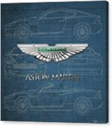 Aston Martin 3 D Badge Over Aston Martin D B 9 Blueprint Canvas Print