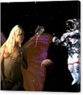 Astronaut And The Fairies Canvas Print