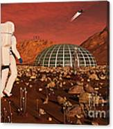 Astronaut Walking Across The Surface Canvas Print