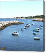 At Anchor In Rockport Ma Harbor Canvas Print