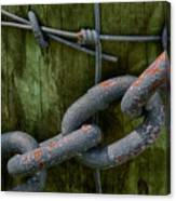 At The Fence Gate - Chain, Wire, And Post Canvas Print