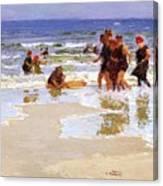 At The Seashore Edward Henry Potthast Canvas Print