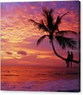 Atardecer En La Palmera Playa Blanca Canvas Print