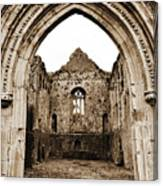 Athassel Priory Tipperary Ireland Medieval Ruins Decorative Arched Doorway Into Great Hall Sepia Canvas Print