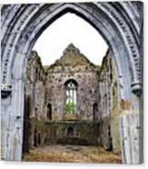 Athassel Priory Tipperary Ireland Medieval Ruins Decorative Arched Doorway Into Great Hall Canvas Print