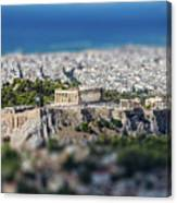 Athens, Greece. Athens Acropolis And City Aerial View From Lycavittos Hill Canvas Print
