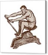 Athlete Exercising Vintage Rowing Machine Etching Canvas Print